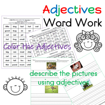 Adjectives Word Work Bundle (17 pages)