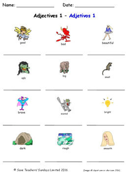 Adjectives in Spanish Worksheets