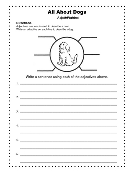 Adjectives Worksheet  /  All About Dogs