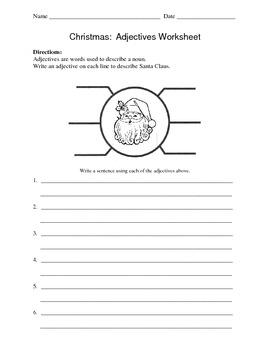 Adjectives Worksheet / Christmas / Santa Claus by Kelly Connors | TpT
