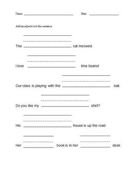 Adjectives Worksheet - Elementary - grades 1 - 4