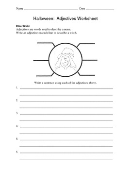 Halloween: Witch Adjectives Worksheet