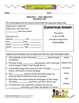 Adjectives Worksheet Packet and Lesson Plan - 8 Pages plus Answer Key