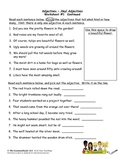 Adjectives Worksheet Packet and Lesson Plan - 8 Pages plus
