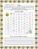 Adjectives Worksheet - Spring Theme