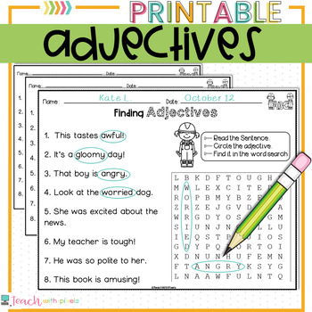 ADJECTIVES Parts of Speech Worksheets and Activities with Word Search