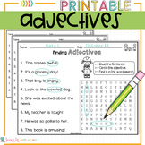 ADJECTIVES Parts of Speech Worksheets and Activities with