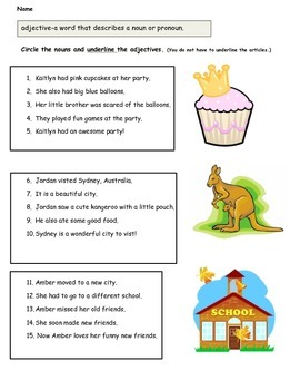 Adjectives Worksheet (in color and black and white)