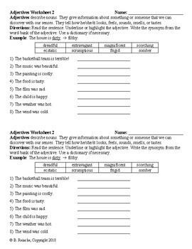 Adjectives Worksheets