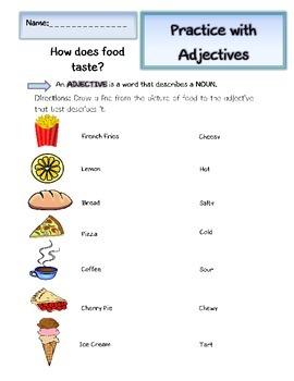 Adjectives: Elementary Grammar Writing Practice Worksheets (Feel, Taste)