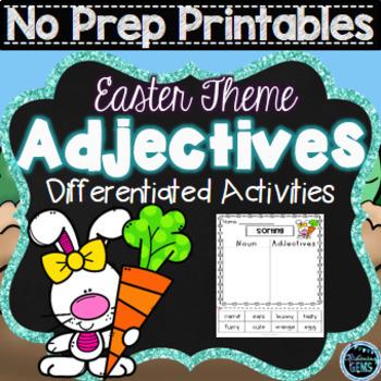 Adjectives Worksheets for Kindergarten and First Grade | Easter No Prep