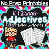 Adjectives Worksheets for Kindergarten and First Grade - Bundle