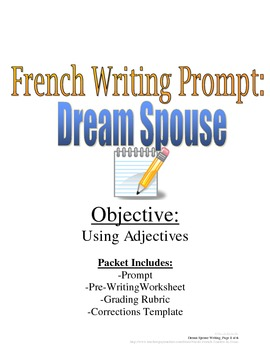 Adjectives Writing Prompt for French Students, Rubric Included