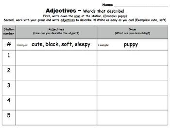 Adjectives activity : Using the five-senses to describe nouns