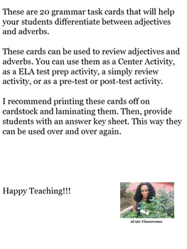 Adjectives and Adverb Task Cards