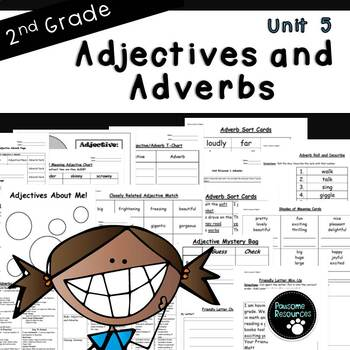Second Grade Adjective and Adverb Unit (EDITABLE!)