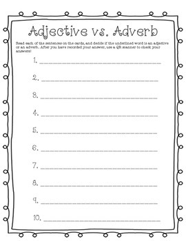 Adjectives and Adverbs Activity