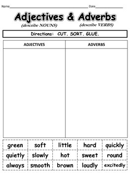 Adjectives and Adverbs Cut and Paste