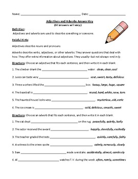 Adjectives and Adverbs: Worksheet with Comprehensive Answer Key