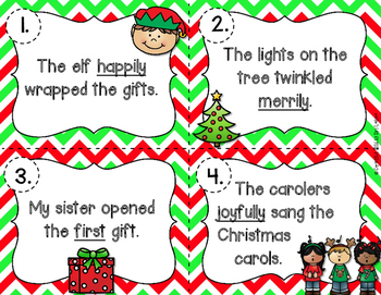 Adjectives and Adverbs Holiday Christmas Task Cards L.3.1a