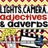 Adjectives and Adverbs anchor charts, practice, task cards, & flip flaps
