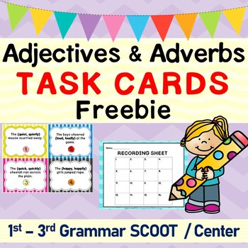 Adjectives and Adverbs Grammar SCOOT or Task Cards