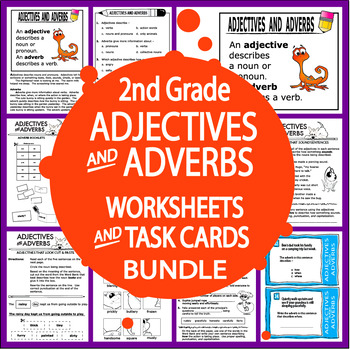 Adjective Adverb Activities Task Card Bundle 16 Adjective Adverb