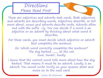 Adjectives and Adverbs Task Cards for Journeys Grade 2