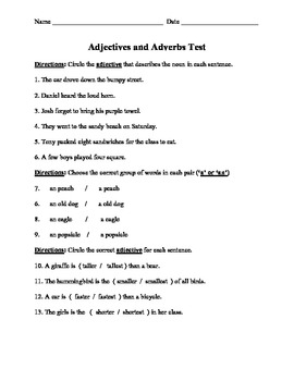 Adjectives and adverbs assessment teaching resources teachers pay adjectives and adverbs unit test adjectives and adverbs unit test fandeluxe Images