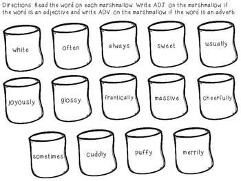 Adjectives and Adverbs Winter Learning Craft