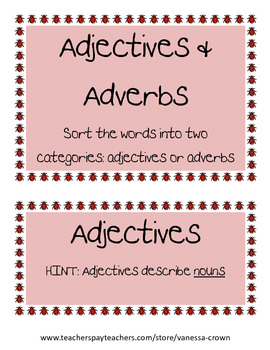 Adjectives and Adverbs word sort