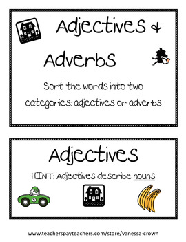 Adjectives and Adverbs word sort black and white