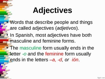 Adjectives and Agreement Lesson
