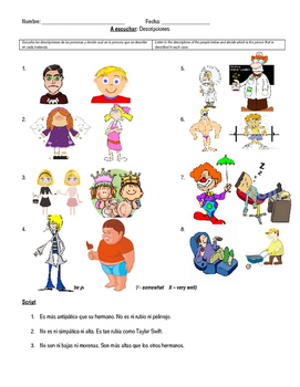 Adjectives and Comparatives Listening Activity