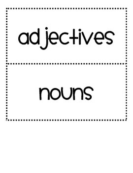 Adjectives and Noun Literacy Center for Sentence Structure