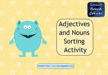 Adjectives and Nouns Sorting Activity for SMART Board