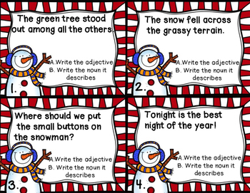 Adjectives and Nouns Task Cards - Winter Snowmen