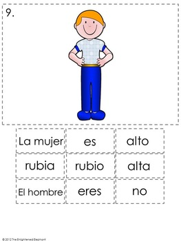 Ser with Adjectives Spanish Sentence Writing Station Activities