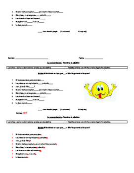 Adjectives and noun-adjective agreement warm-ups and closures