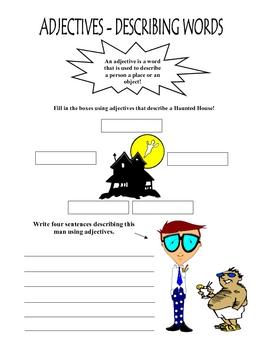 Adjectives are describing words  Worksheet