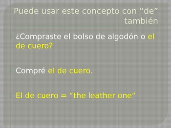Adjectives as Nouns Spanish PowerPoint