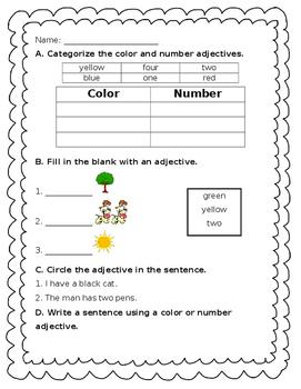 Adjectives - color + number - Journeys Unit 1, Lesson 4