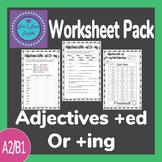 Adjectives +ed Or +ing Worksheet Pack