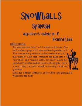 Adjectives ending in -E Snowballs SPANISH