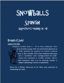 Adjectives ending in -O Snowballs SPANISH
