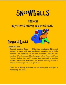 Adjectives ending in a Consonant Snowballs FRENCH