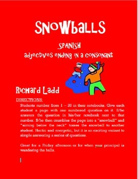 Adjectives ending in a consonant Snowballs SPANISH