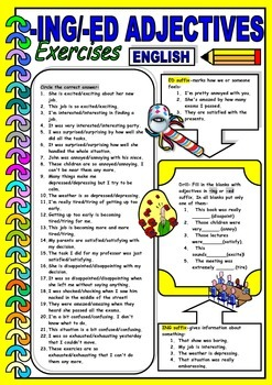 Adjectives ending in -ing and -ed suffixes