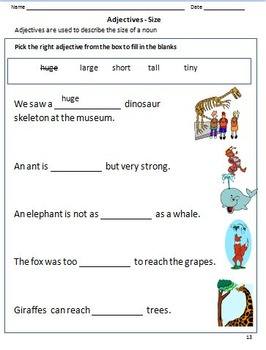 Adjectives Worksheets for Grade 1 & 2 by Rituparna Reddi | TpT