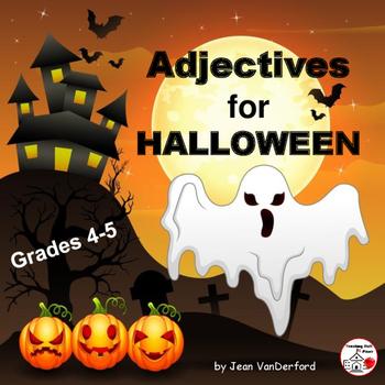 Adjectives for HALLOWEEN   SPOOKY Vocabulary   FUN ART   Grammar   Gr 4-5